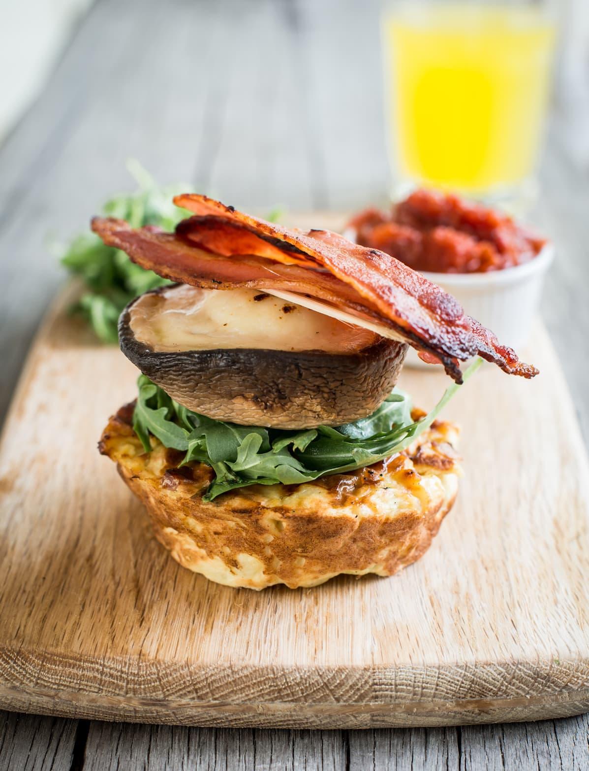 Portobello Mushroom, Mozzarella & Potato Cake Stack