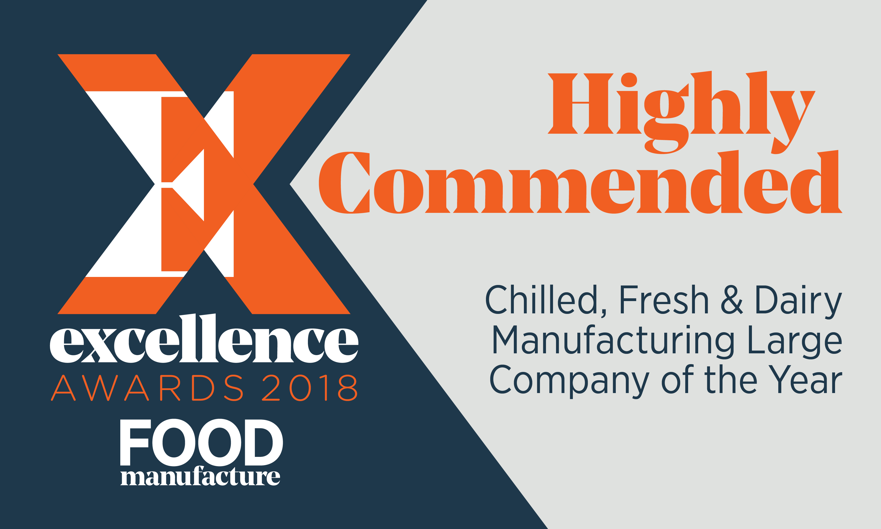 Highly Commended at Food Manufacturing Excellence Awards